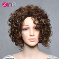 Zing Afro Kinky Curly Wig Dark Brown Color Synthetic Women's Wig Natural Kinky Curly Synthetic Wig Perruque Synthetic Women