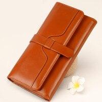 Fashion Women Wallet 11 Colors Popular Portable Change Purse Wallet Cow Split Leather Button Clutch Delicate