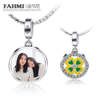FAHMI 100% 925 Sterling Silver Original DIY Clover Photo Charm Pendant Suitable Kids Family Lovers Album Beaded Custom Necklace