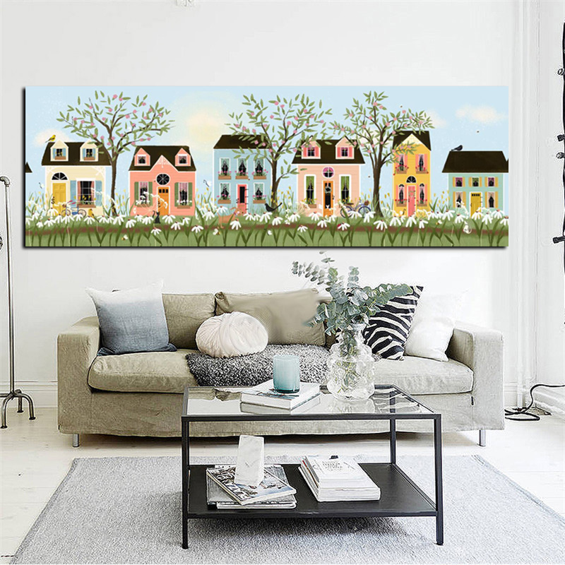 HD Print Abstract Yellow House Flowers Tree Pastoral Landscape Oil Painting on Canvas Modern Wall Picture Poster For Living Room