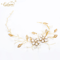 Gibsonbridal Hair Jewelry Decoration Enchanted Floral and Pearl Hair vine Bridal Headpiece Wedding Hairband