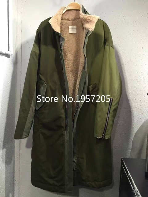 best Version Kanye West Army Green Coats fear of god Long Style Zippered Sleeve Fleece Linning Windbreaker
