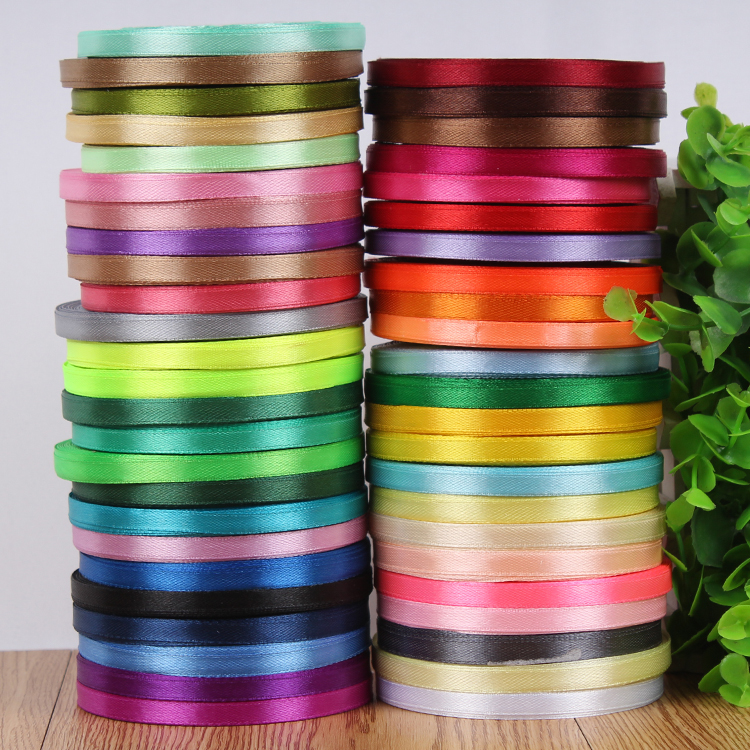 Single face satin ribbon 6mm 22 meters wedding party festive event decoration crafts gifts wrapping apparel