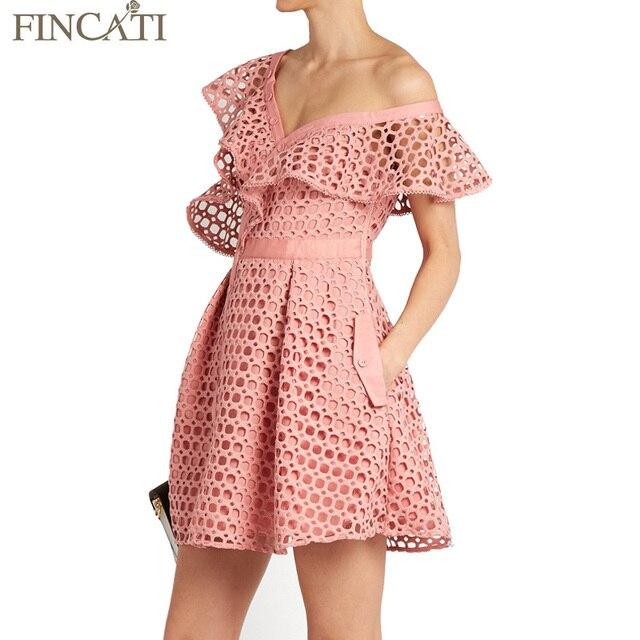 Весна лето dress женщины 2017 автопортрет выдалбливают с плеча aysmmetrical кружева оборка мини sexy vestidos де феста