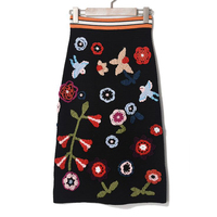 Elasticity Knitwear Women Skirts 2018 Good Quality Colorful Floral Embroidery Appliques Sheath Bodycon Skirt Lady Clothing OM278
