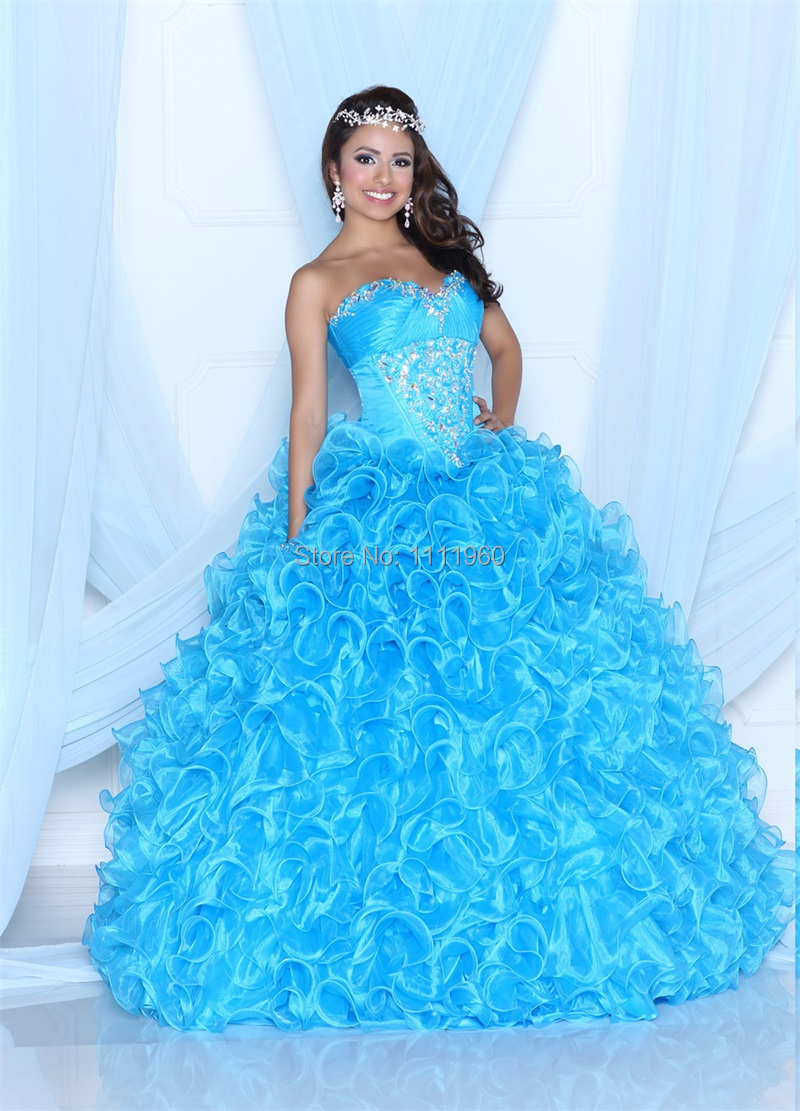 Free Shipping Baby Blue Quinceanera Dress Ball Gown 2015 Crystal ...