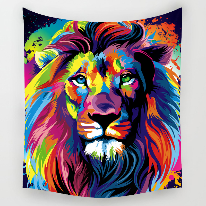 Comwarm African Animals Pattern Colored Lion Howling Wolf Polyster Tapestry Wall Hanging Beach Picnic Yoga Rug Living Room Decor