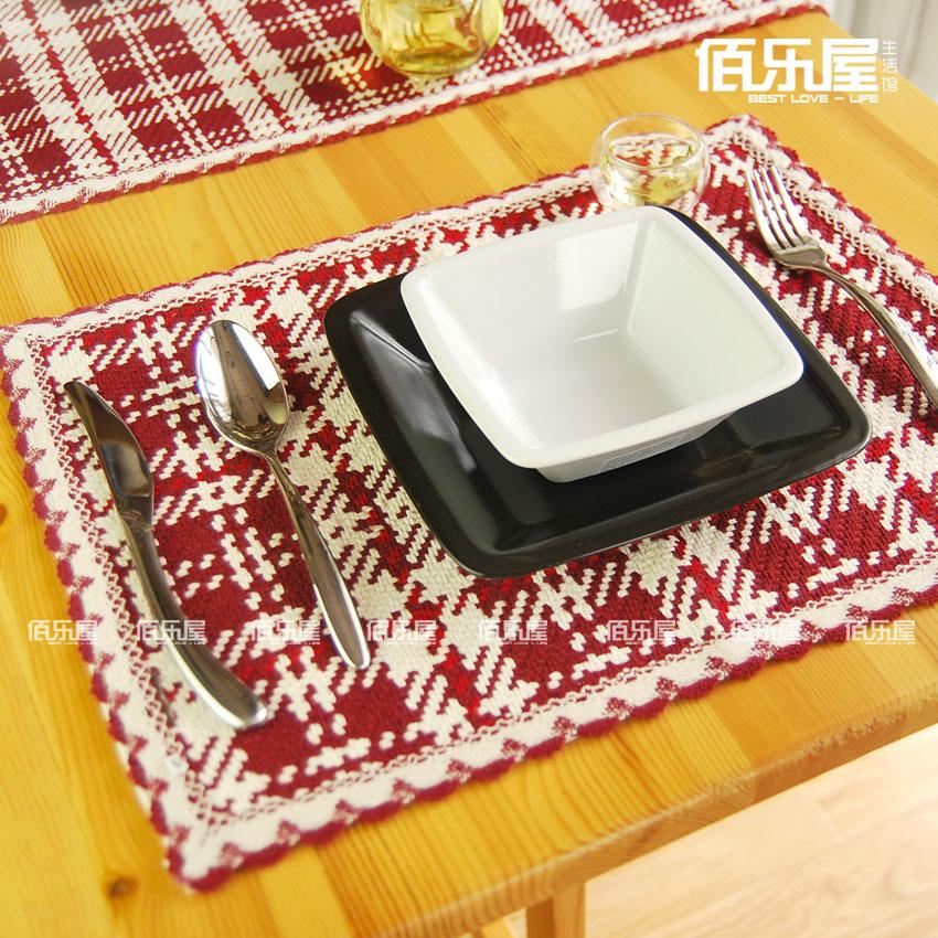 European Cotton Red Plaid Placemat Cute Fashion Dining