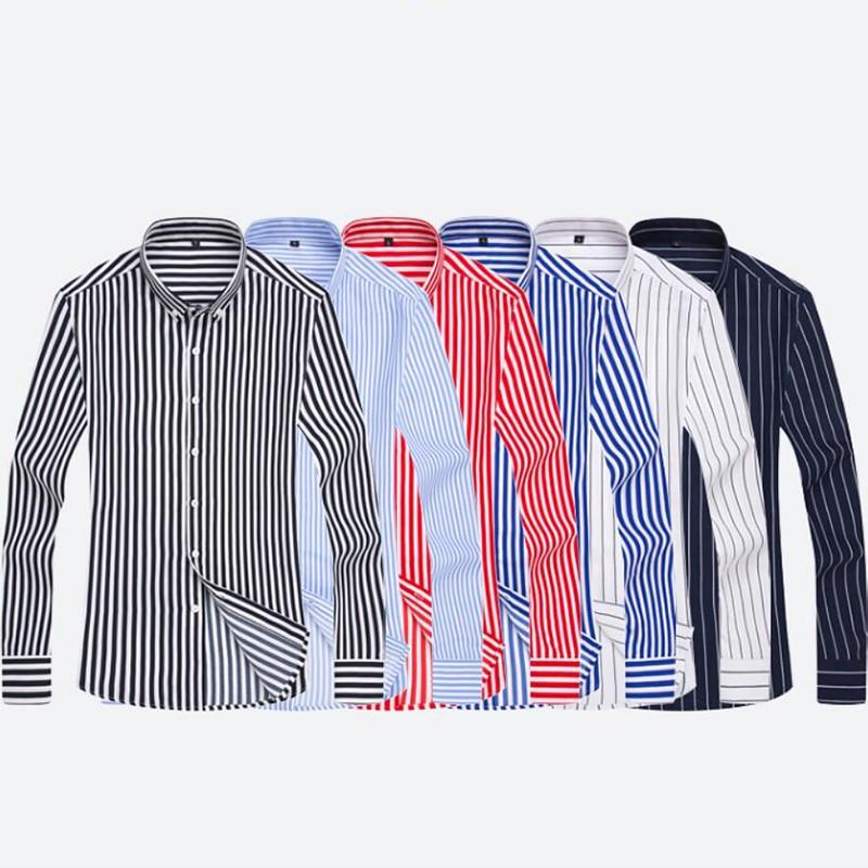 T-bird Shirt Men 2018 New Striped Long Sleeves Mens Dress Shirts Camisa Masculina Spring Summer Brand Casual Male Shirt Tops 5XL 4