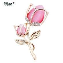 Женская романтичная брошь rhao розовая с опалом и стразами булавка