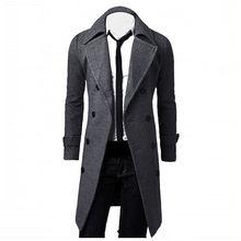 32214f2d580 Новая мода осень-зима Для мужчин куртки тонкий стильный пальто двубортное  длинное шерстяное пальто куртка мужская верхняя одежда.
