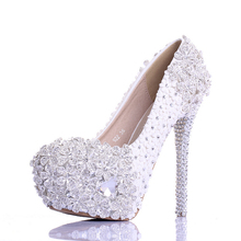 Spring white flower lace rhinestone wedding shoes ultra high heels party shoes thin heels bridal shoes single shoes women's