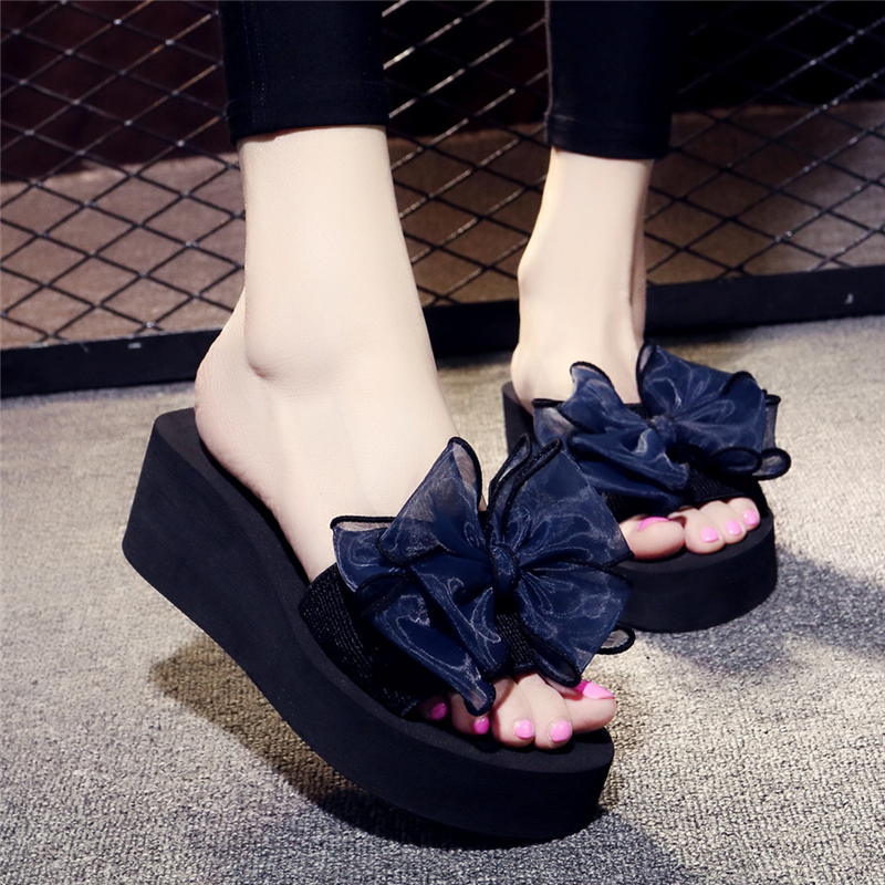 Summer Chiffon floral flip flopsshoes women slippers wedges shoes for women bow beach holiday beach beach shale for women 5.5cm цена