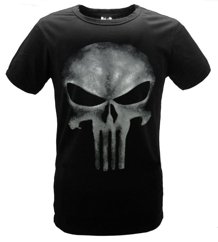 Cosplaydiy   The Punisher T- shirt Skull Printing Black Fashion Adult Men Short Sleeves Tee Shirt Summer Clothing