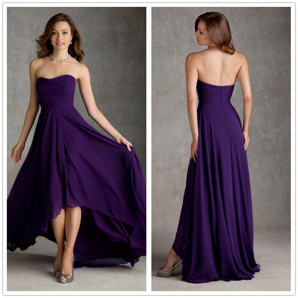 In Fashion Elegant Empire Waist A Line Sweetheart Hi Lo Chiffon Pleated Purple Bridesmaid