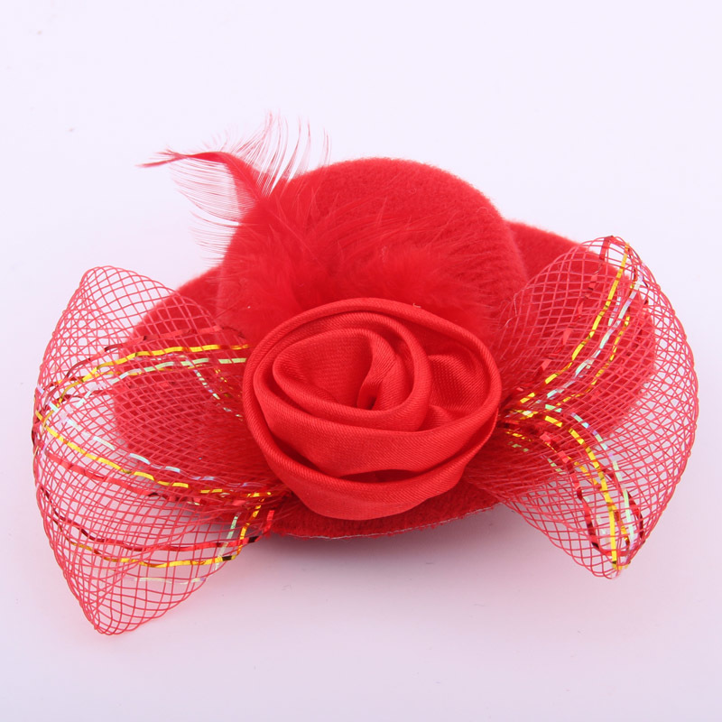 Newest headwear accessory mini hat hair clips feather ribbon flower billycock barrettes for girls party hair fashioNS 2 PIECES in Hair Accessories from Mother Kids
