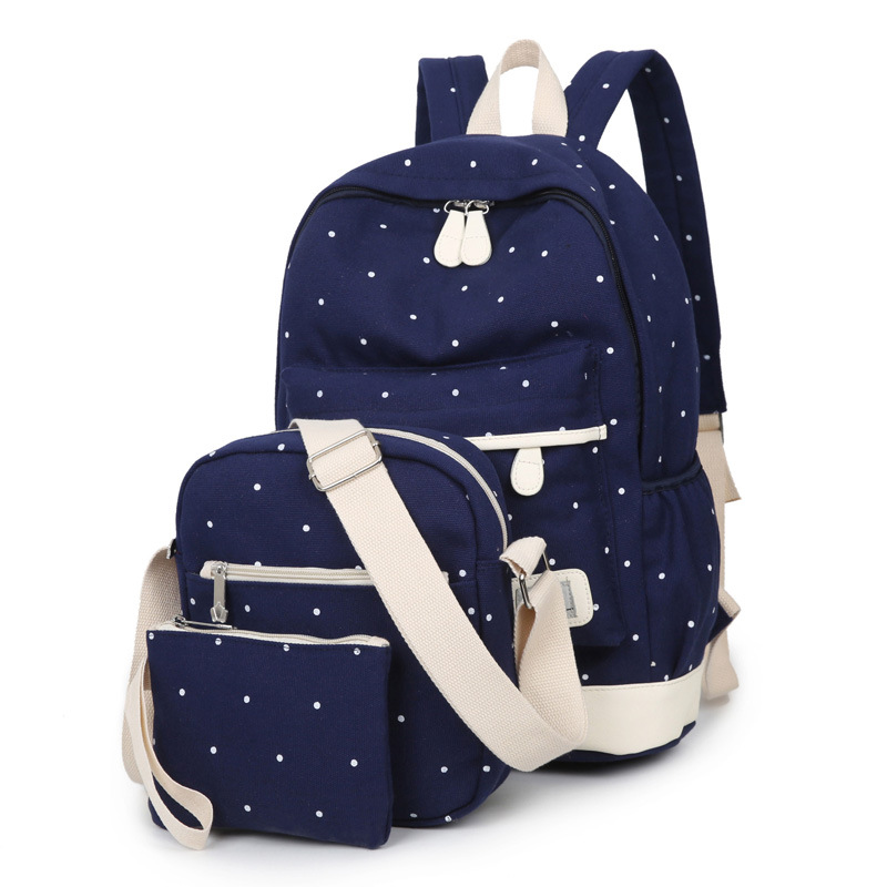 3pcs/set Dot Printing School Backpack For Girls Student School Bags Girls School Bags Kids Backpack Girls Mochila Infantil(China)