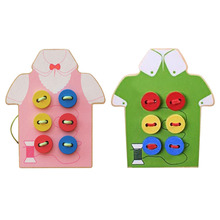 Wooden Kids Educational Puzzle Toys Children Beads Lacing Board Toys Sew On Button Early Education Toy