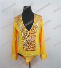 100% High quality Sequin Spandex Boys Latin Dancing Shirts Samba Rumba Tango Salsa Walz Ballroom Dance Shirt T-10001