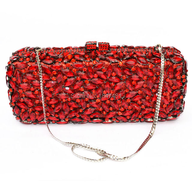LaiSC red long clutch chain bag Women Luxury Crystal Party Purse Rhinestones Bling Clutch purse sparkly ladies evening bag SC155