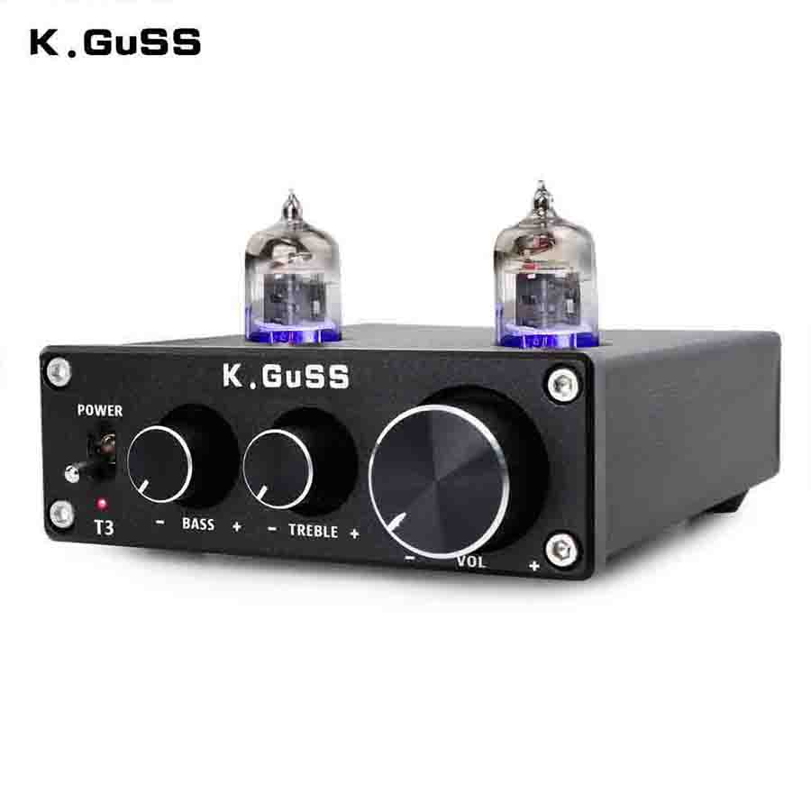 KGUSS T3 MINI Bile 6J1 Preamp Tube Amplifier Buffer HIFI Audio Preamplifier Treble Bass Adjustment Pre-amps DC12V 1pcs high quality little bear p5 stereo vacuum tube preamplifier audio hifi buffer pre amp diy new