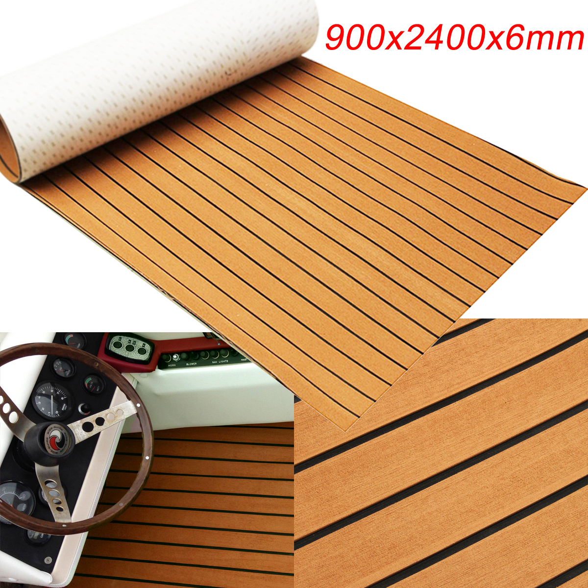 Self-Adhesive 900x2400x6mm Gold With Black Lines Marine Flooring Faux Teak EVA Foam Boat Decking Sheet