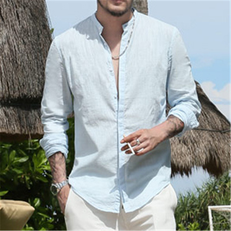 Men s Shirts Long Sleeve Male Slim Fit Brand Linen Casual Business Shirt Solid Flax dress