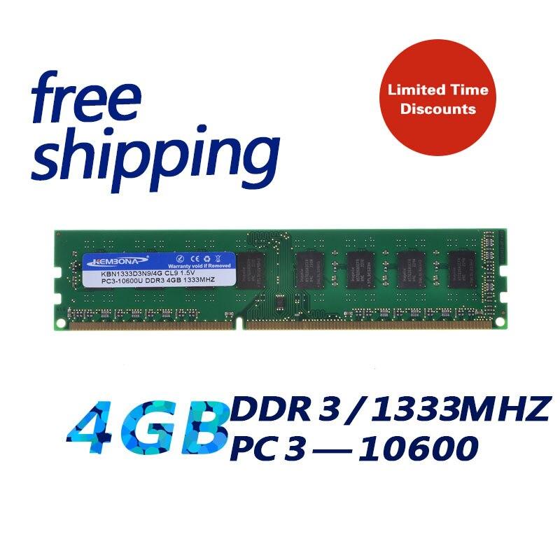 KEMBONA Neuf Scellé DDR3 1333 mhz 4 gb pour toutes les cartes mères PC3 10600 4 gb Mémoire RAM De Bureau garantie à vie