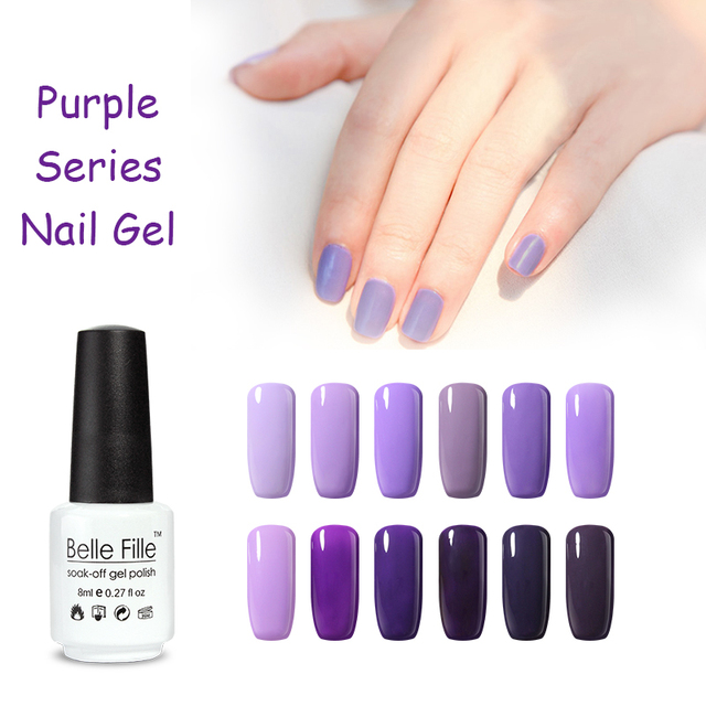 UV Nail Gel Polish Light Purple Color French Manicure Lacquer Nail Art Soak  Off Varnish 8ml