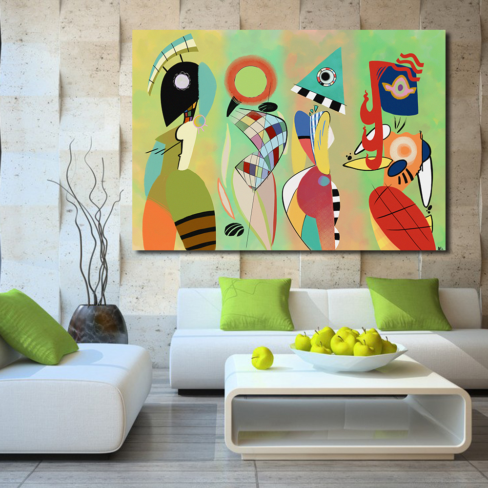100 Handmade Abstract Canvas Art Wassily Kandinsky Wall Pictures For Living Room Bedroom Modern Painting Home