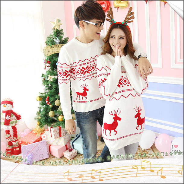 98e49c39415e Matching Christmas Sweaters For Couples Men Women Lovers Couple Christmas  Sweater Set Dress With Reindeer Deer Snow Flake