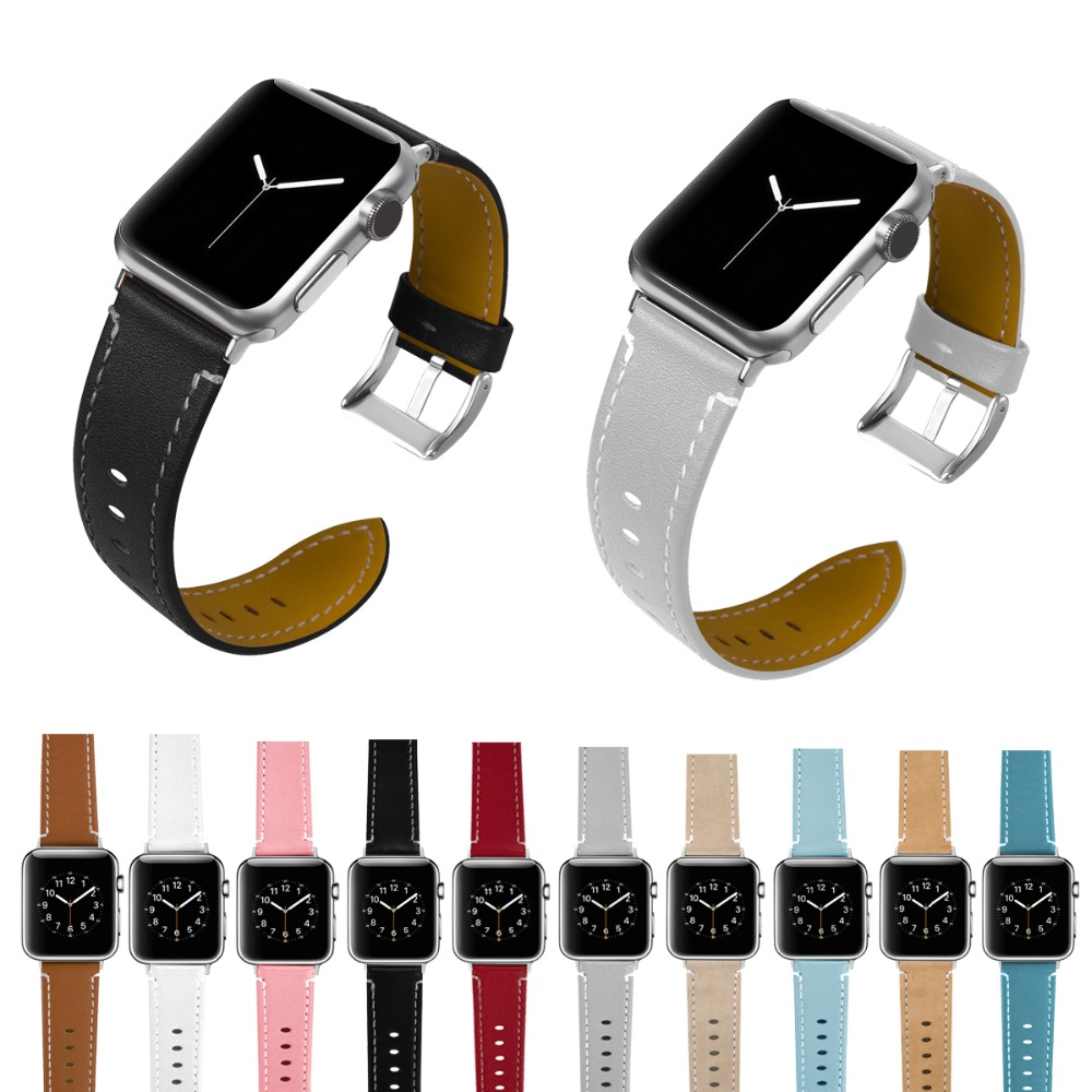 Joyozy Leather for Apple Watch Band Slim Replacement Wristband Sport Strap for Iwatch Nike+