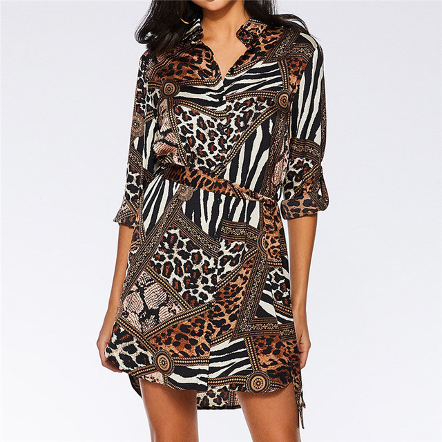 Leopard Printed Shirt Dress 2019 Women Patchwork Long Sleeve Chiffon Sundress Vintage Mini Dress Summer Sashes Party Dress
