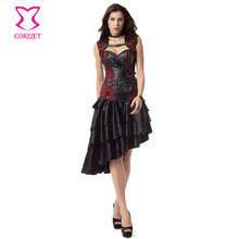Red/Black Skull Vintage Corset Steampunk Dress Sexy Gothic Dresses Corsets And Bustiers Steel Boning Burlesque Korsett For Women