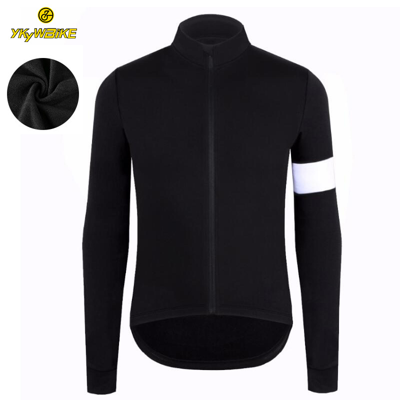 YKYWBIKE Winter Thermal Fleece Men Cycling Jersey Custom Long Sleeve High Quality Cycling Bike Clothing Pro Team Zipper Pocket