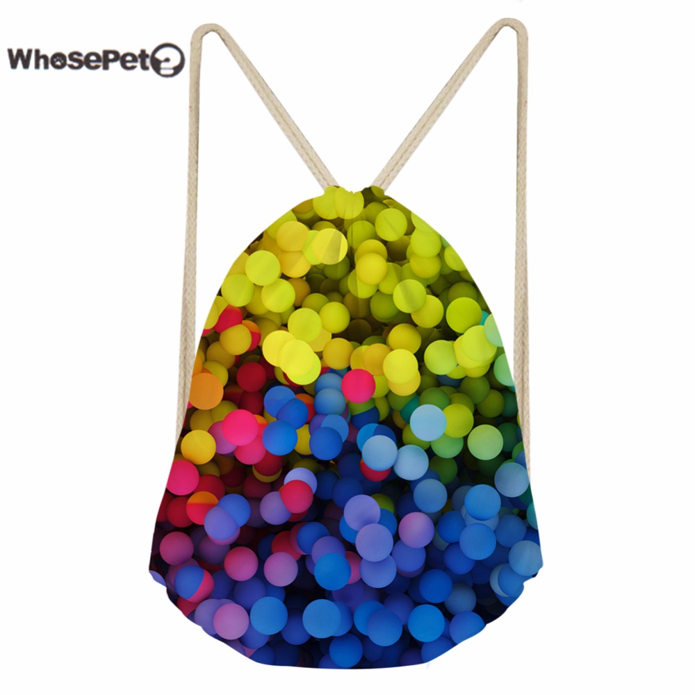 WhosePet Womens Mini Backpack Drawstring Bag Small String Bags Mixed Color Wave Point Printed Shoulder Back Pack String Sack