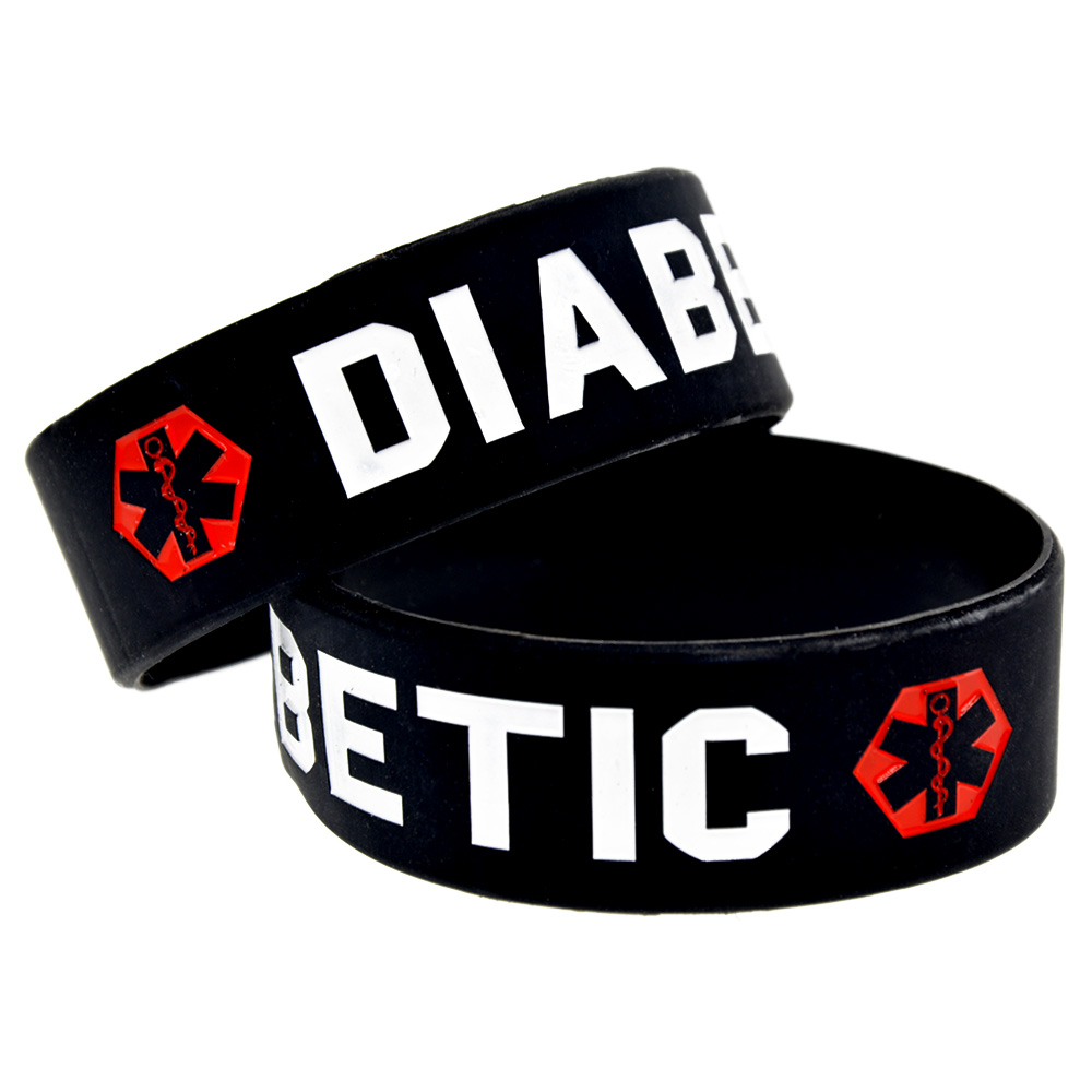 OBH 1PC 1 Inch Wide Black Diabetic Silicone Rubber Wristband Adult Size