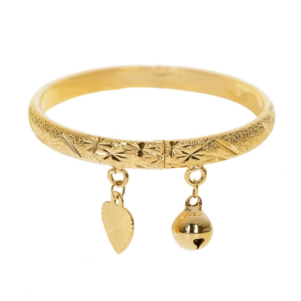 1 PC Gold Bell Heart Bracelet Children Boys Girls Kids Baby Jewelry Bangle