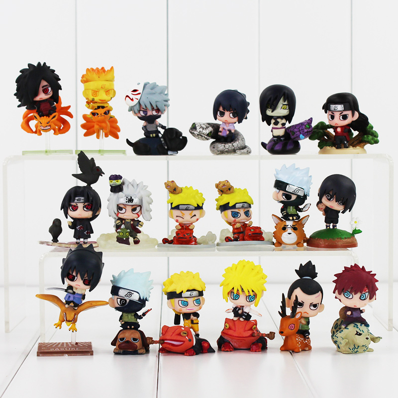 Hot 4~5cm Q Version Naruto Uzumaki Uchiha Sasuke Kyuubi Kurama Naruko Rokku Rii Kakashi Gaara Orochimaru PVC Figure Model Toys anime naruto q version pvc action figure toys kakashi naruto sasuke figma figure toy gift