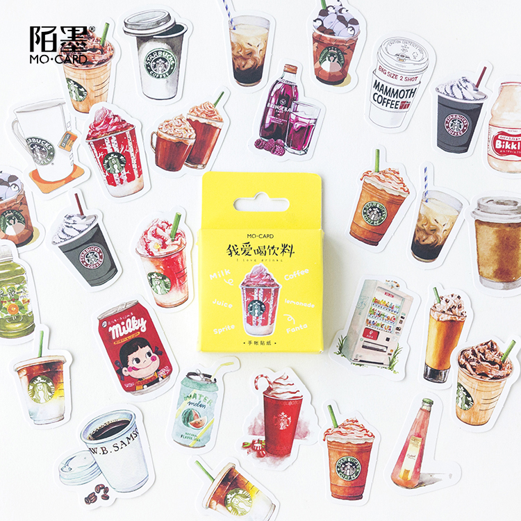 46 Pcs Set Of Coffee Drink Mini Paper Label Stickers Diy Diary Album Stick Decor Lot