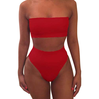1 Set Women Swimsuit Swimwear Bikini Solid Color Fashion Breathable for Beach Holiday YA88 2