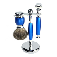 Men Razor Zinc Alloy Beard Brush Travel With Stand Safety Trimmer Manual Washable Vintage Shaving Set Double Sided Home Portable