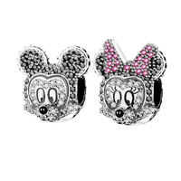 Real 925 Silver Color Black Clear Zircon Minnie Mickey Mouse Charm Fit Original Pandora Charms Bracelet