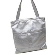 2017 Fashion new retro big shopping packet silver gold color women bags polished leather handbag women shoulder bag