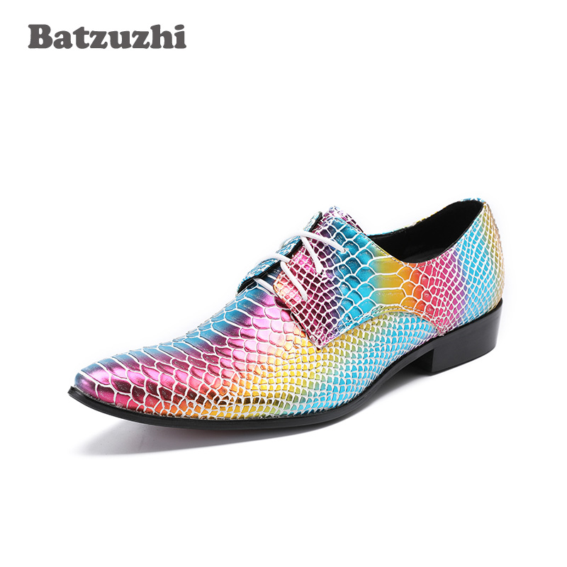 Batzuzhi 2018 New Men Shoes Luxury Handmade Colorful Men's Dress Shoes Leather Pointed Toe Lace-up Rock Party and Wedding Shoes handmade cotton lace parasol umbrella and hand fan party wedding decor