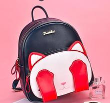 Angelatracy 2019 New Arrival Cat Pow Embroidery Eye Cute Panelled Student Girl Casual PU Women Shoulder Bags Backpack Book Bag
