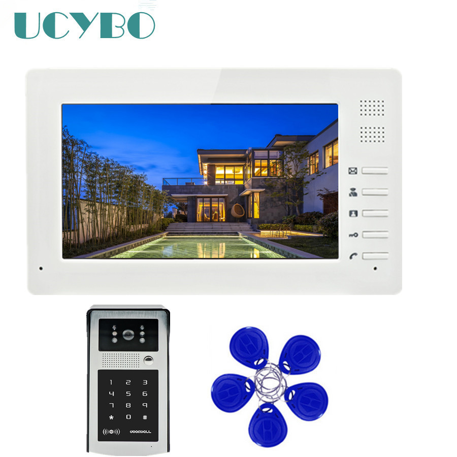 Touch Key 7 LCD Video Door Phone Intercom System RFID IR Camera 1000TVL door bell camera doorphone Remote Access Control Entry 7 lcd one to two video door phone intercom bells ir camera rfid keyfobs code keypad remote access switch electronic door lock