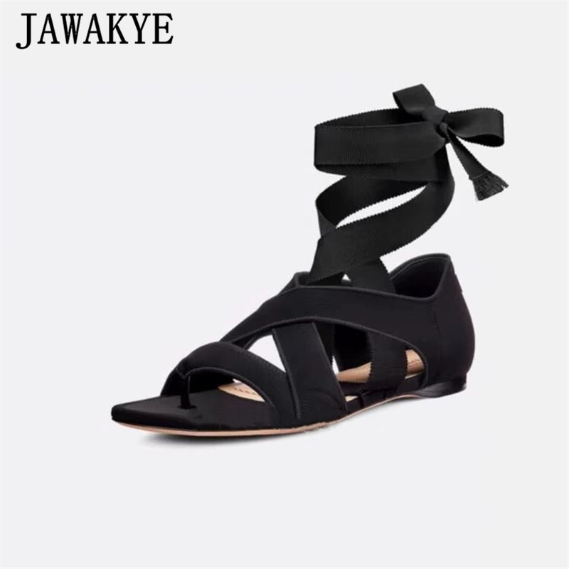 Ankle Cross Tied Gladiator Sandals Women Split Toe Cover Heel Summer Shoes Rome 2019 New Casual Flat Shoes Zapatos De Mujer-in Women's Sandals from Shoes    1