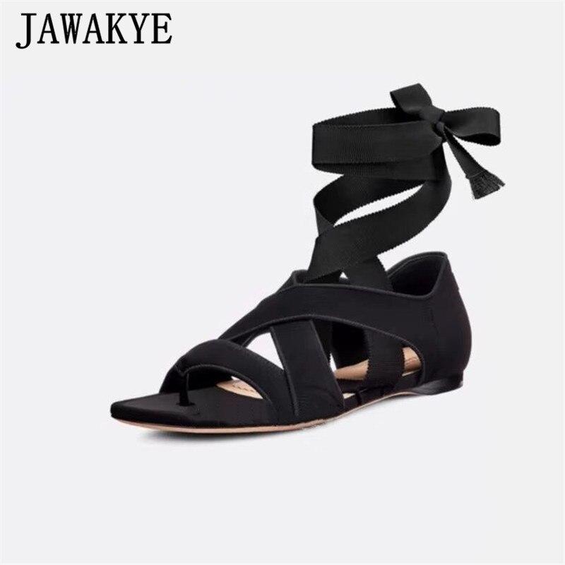 Cheville croix liée gladiateur sandales femmes Split Toe couverture talon chaussures d'été Rome 2019 nouveau décontracté chaussures plates Zapatos De Mujer