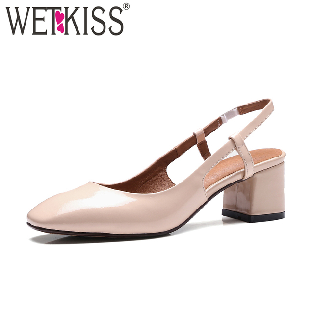 Wetkiss High Heels Women Summer Sandals 2018 Back Strap Las Office Shoes Square Toe Cow Leather